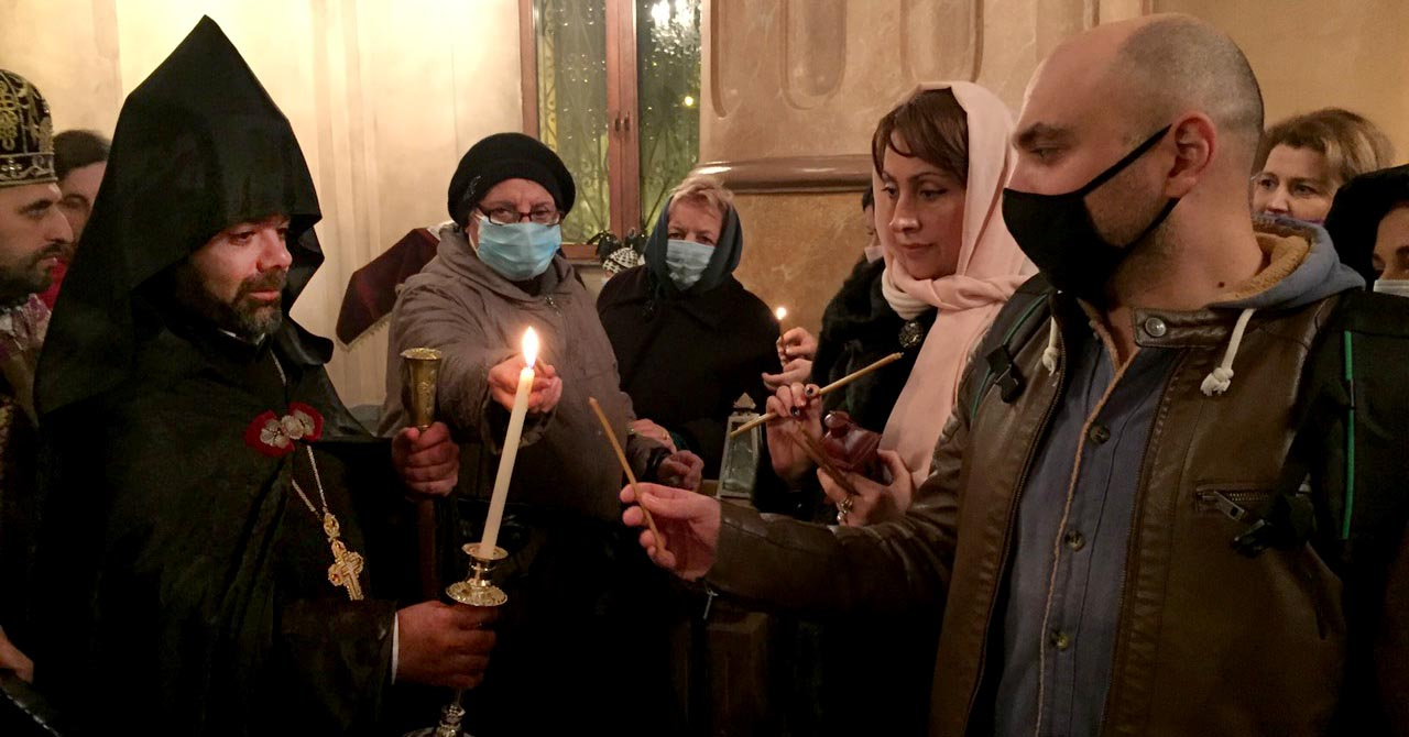 Candlelight Divine Liturgy in churches of Armenian Diocese in Georgia