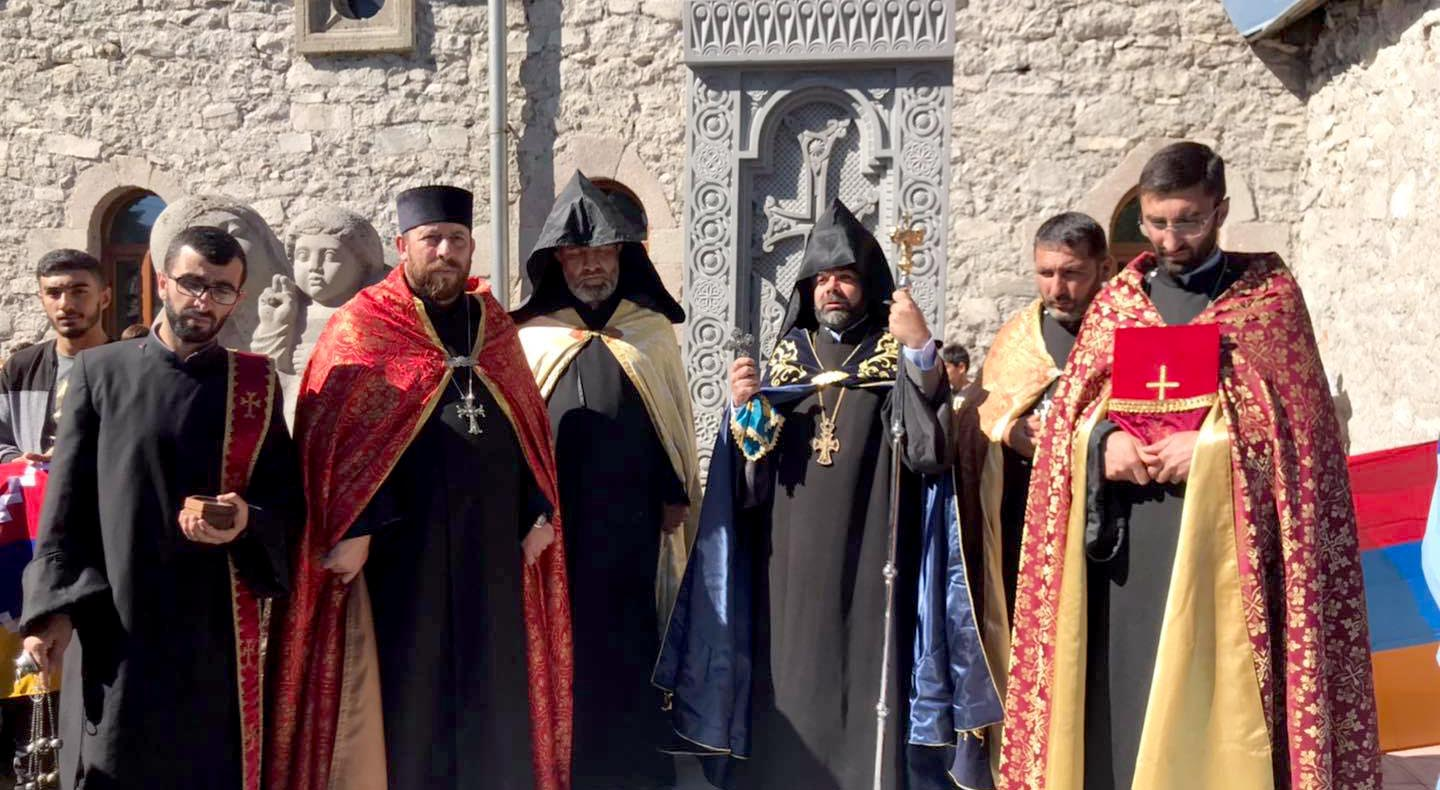 A cross-stone (khachkar) was erected in memory of the victims of 44-day war in Holy Cross church in Akhalkalaki